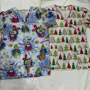 2 Christmas themed scrub tops very good condition